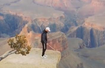 悬崖边玩高尔夫杂耍什么水平? 反正我不敢