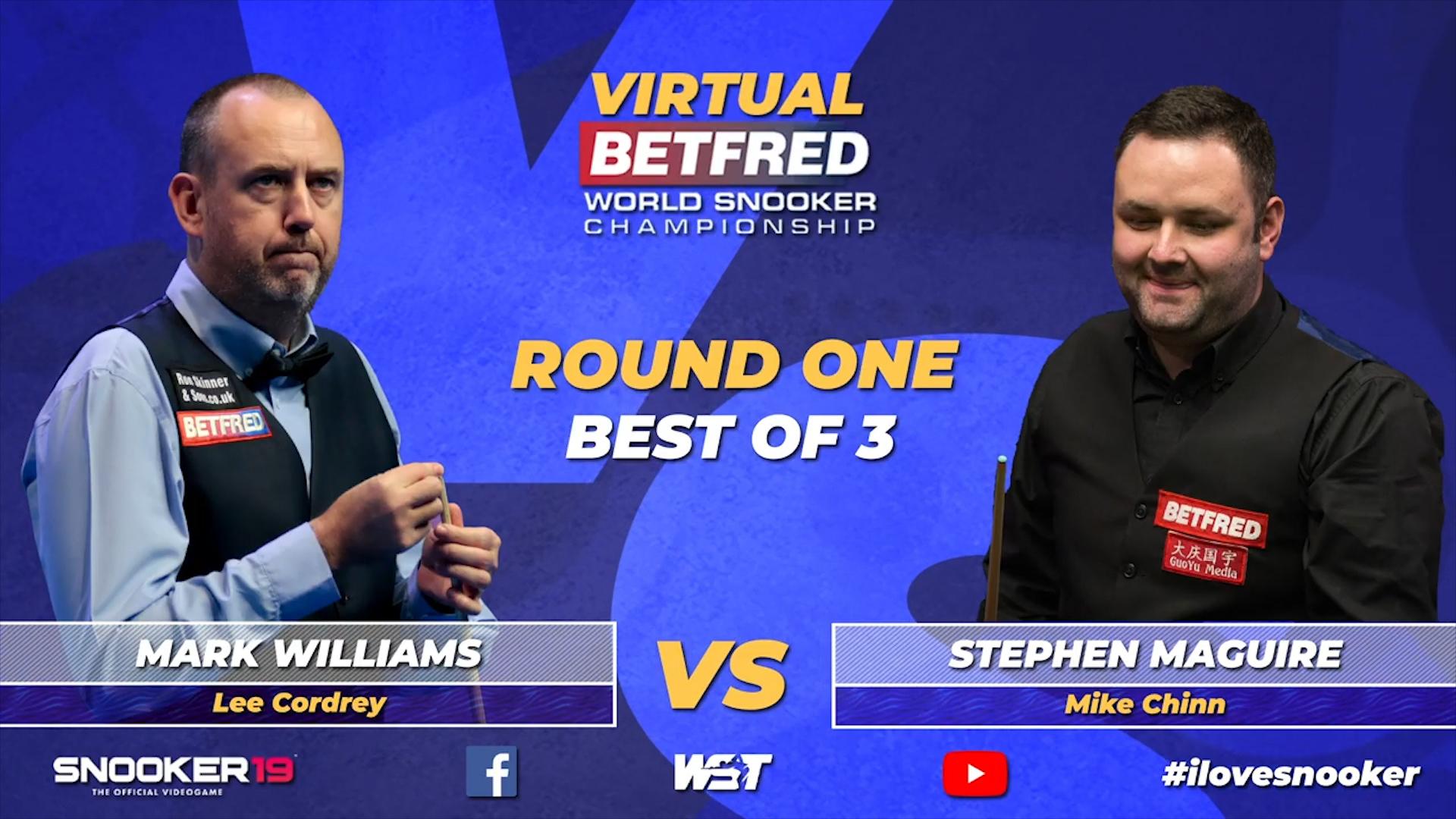2020虚拟斯诺克世界锦标赛:马克·威廉姆斯vs斯蒂芬·马奎尔