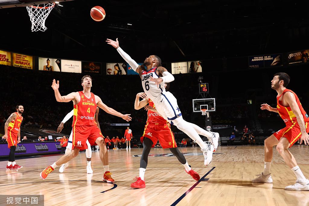 【奥运热身赛】两连胜!利拉德19+6,美国男篮力克西班牙男篮